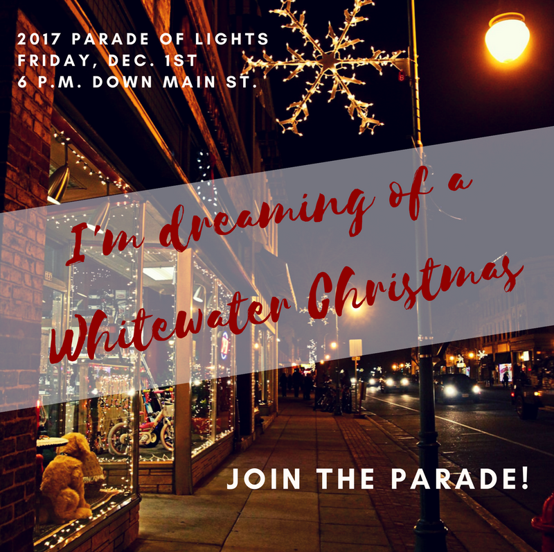 Parade of Lights happening in Whitewater, Wisconsin.