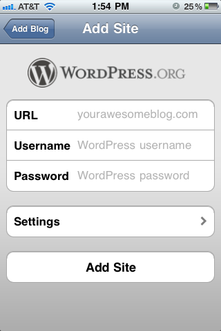 Add Blog Form WordPress Mobile App