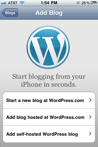 Add Blog Screen WordPress Mobile App