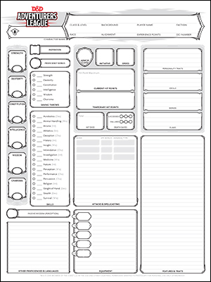 Character creation sheet