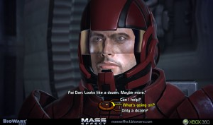 Commander Shepard and the dialouge wheel featured in the Mass Effect games.