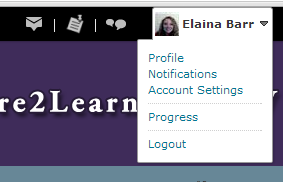 Elaina's login dropdown menu