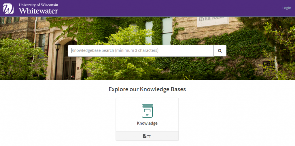 Image of the Service Now knowledge base.