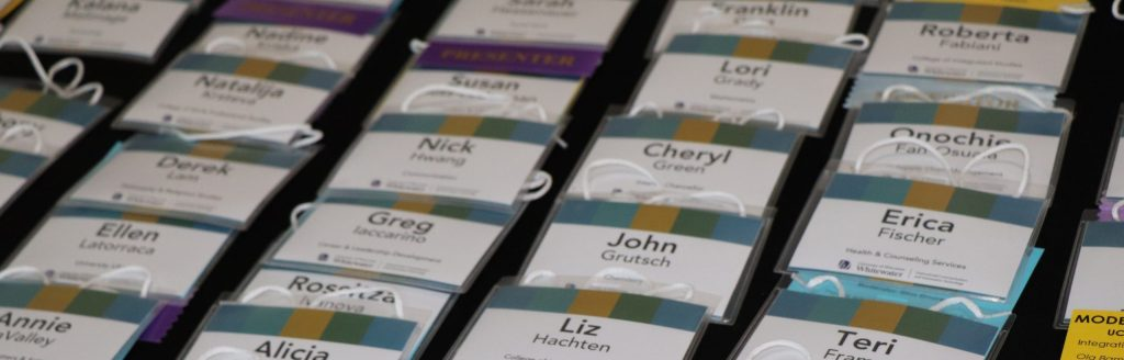 name tags from a previous conference