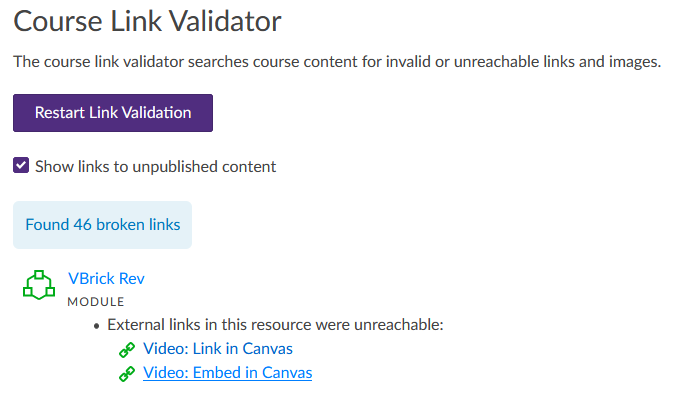 Canvas Course Link Validator