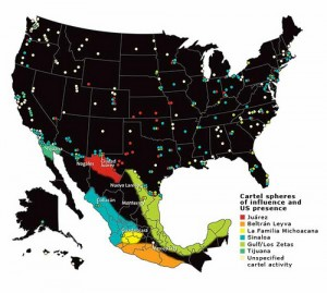 Seperation and Location of Drug Cartels in the US and Mexico