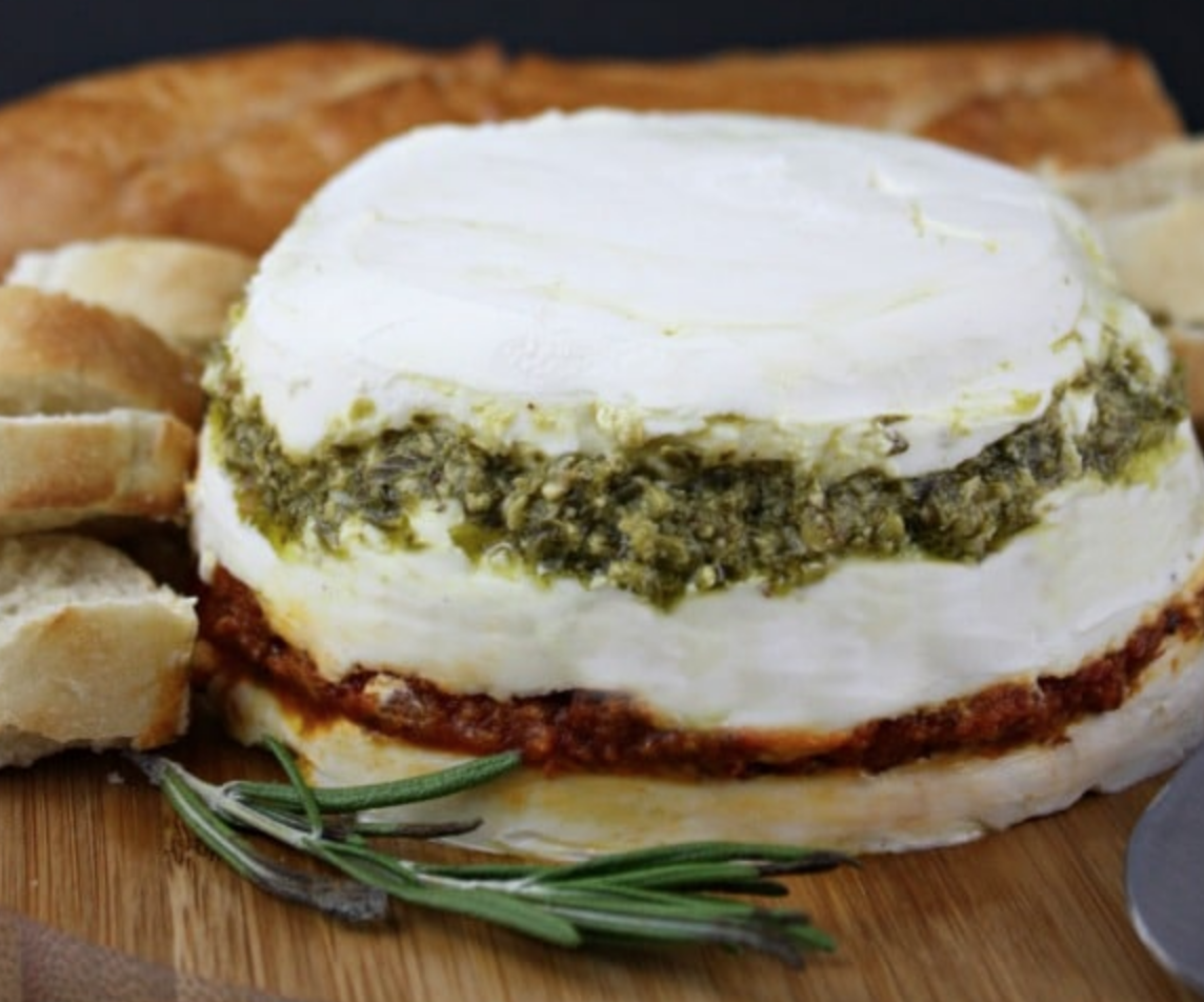 PESTO AND SUNDRIED TOMATO CHEESE SPREAD