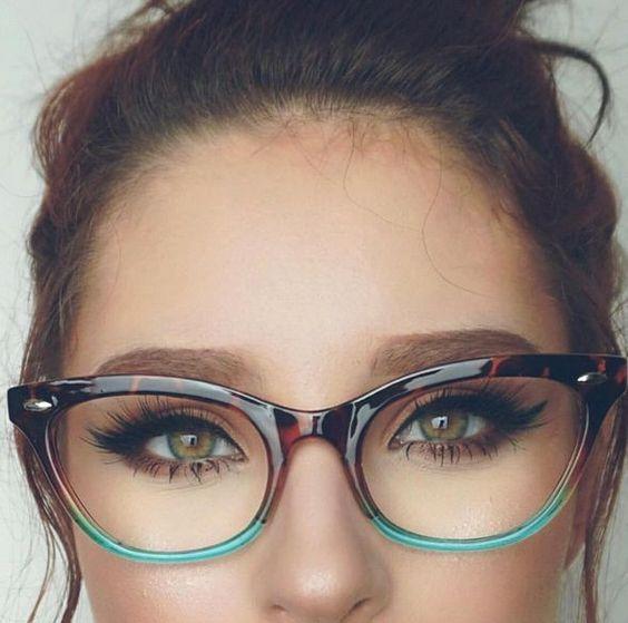 brown teal glasses
