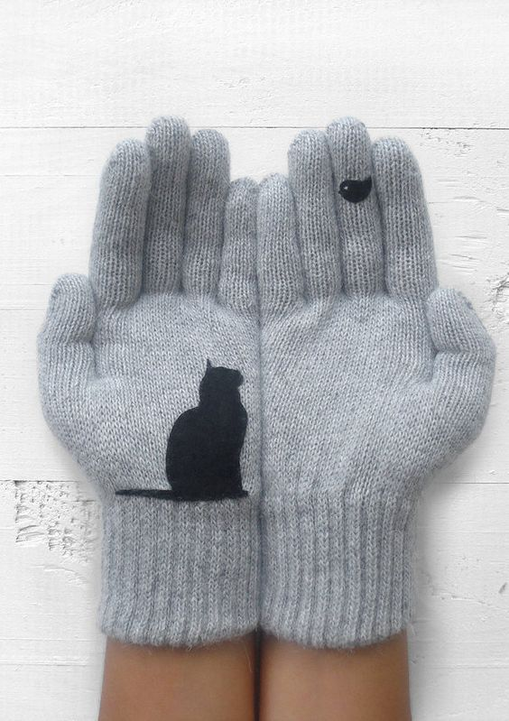 grey gloves