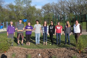 students and planting beds